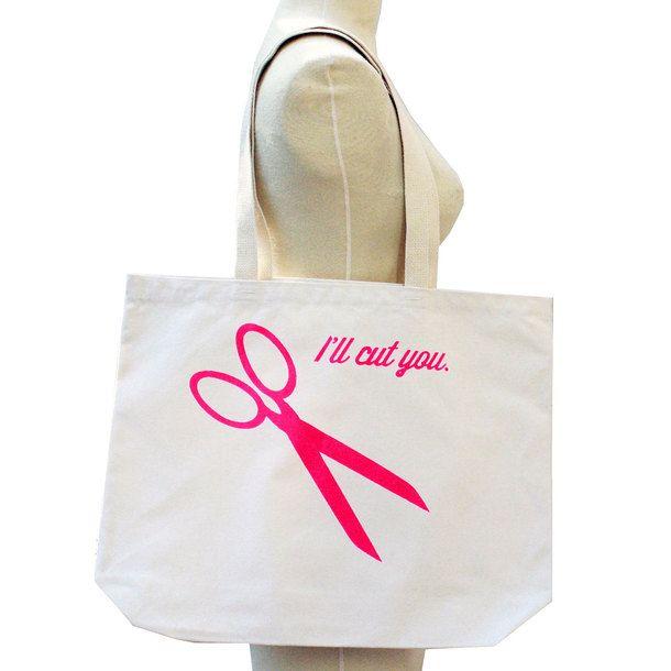 I'll Cut You Tote Hot Pink