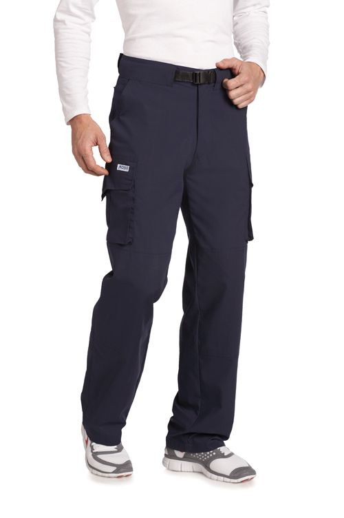 6 POCKET TALL CARGO SCRUB PANT - Available in Navy and Black and made just for men who require a longer inseam. The Six Pocket Cargo Pants are functional, stylish and great fitting. Features a built-in belt buckle and 2 expandable side cargo pockets