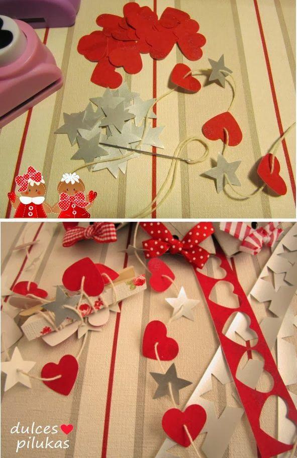 dulces pilukas: Cajas de regalo recicladas. Guirnalda corazones y estrellas.