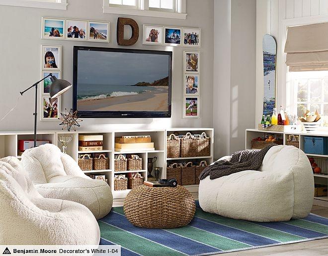 basement - photo frames, baskets/cloth bins for stuff --- Stack Me Up Sherpa Lounge | PBteen
