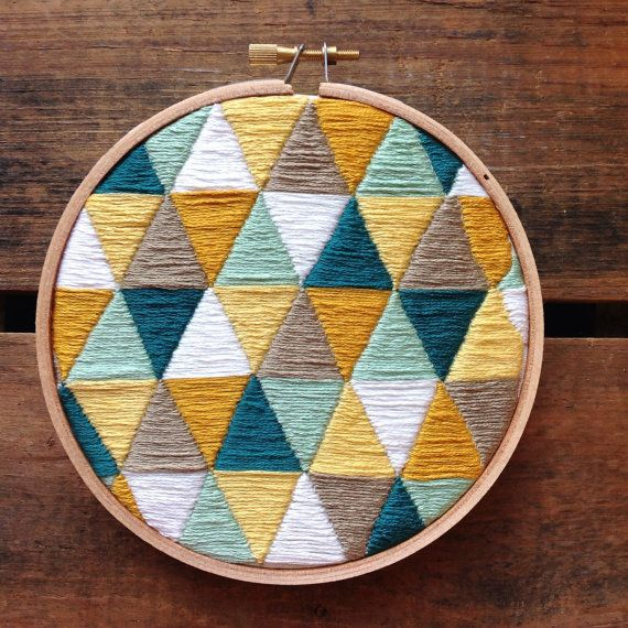 5 Geometric embroidery hoop. Amazing hand stitched detail! The price reflects how long it takes to complete. This hoop would look great in any room of