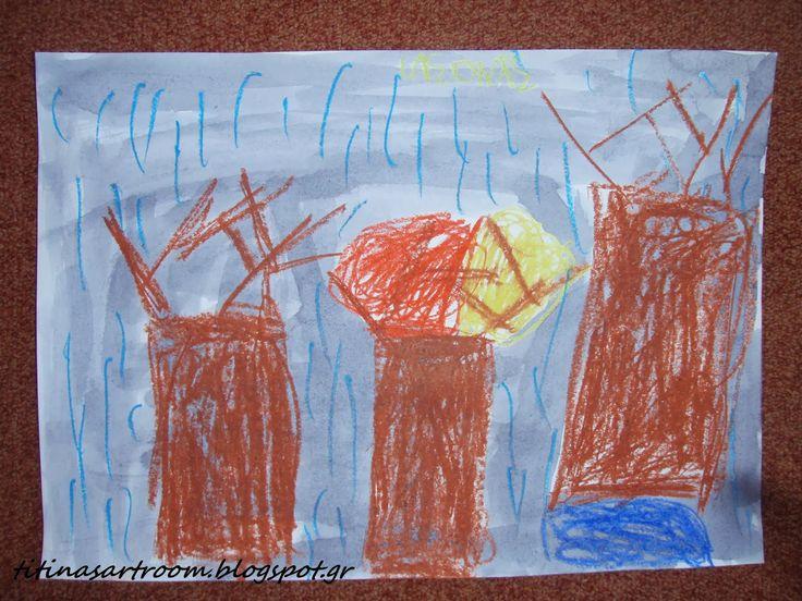 Titina's Art Room: Ζωγραφική με κηρομπογιές & υγρό μελάνι!