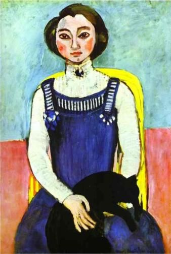 Girl with A Black Cat - Henri Matisse
