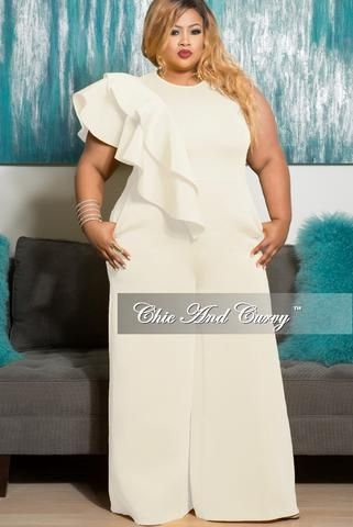 Final Sale Plus Size Sleeveless Solid Scuba Jumpsuit with Front Ruffles in Ivory/Off White