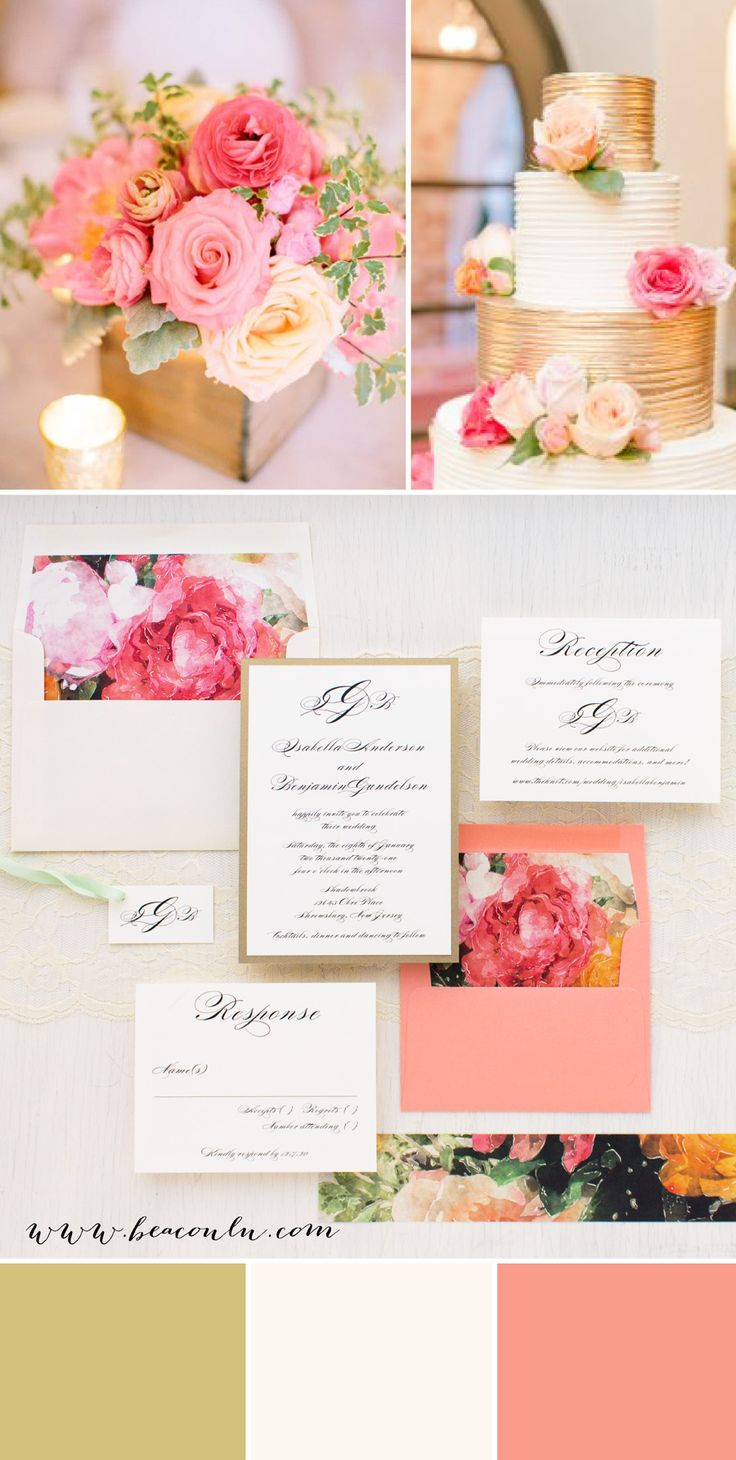 Coral, pink and ivory garden blooms inspired Pink Petals wedding invitations. Simple typographic fonts on soft ivory paper creates a classic, yet modern/timeless look.