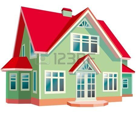 Casa con techo rojo sobre fondo blanco