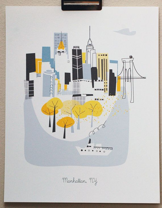 ART | Manhattan NY by albiedesigns on Etsy
