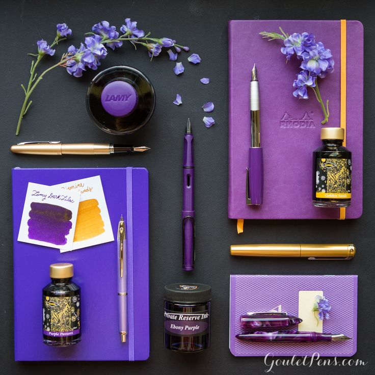 Purple and gold fountain pens, paper, and ink! What a gorgeous combination. Want all of this. Pin for later!