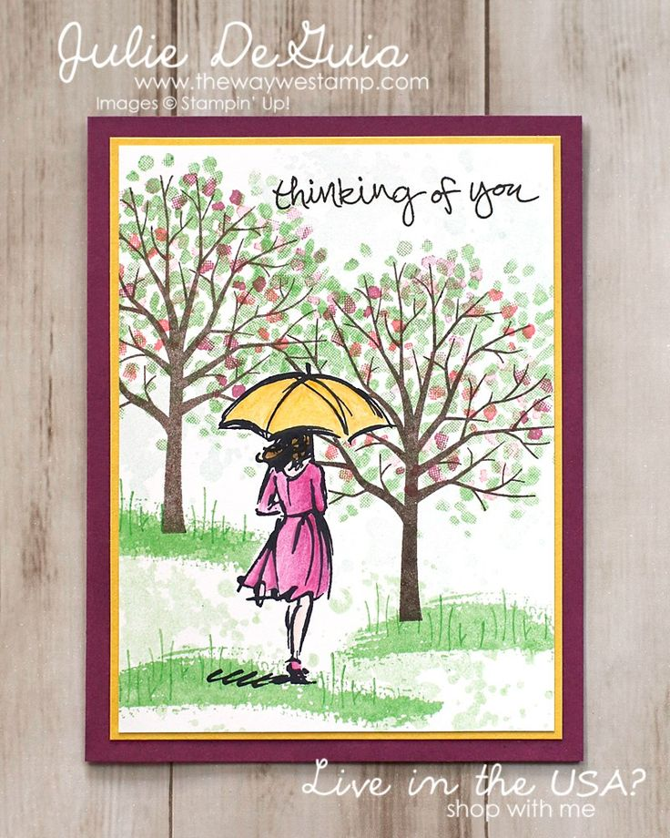 Thinking of You card with Beautiful You and Sheltering Tree by Stampin' Up! #rubberstamps #beautifulyou #shelteringtree #handmadecards #stampinup #thewaywestamp #juliedeguia