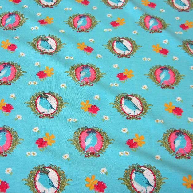 Stoff Vögel - Stoff Jersey aqua Vogel pink rot gelb Zaunkönig - ein Designerstück von werthers-stoffe bei DaWanda