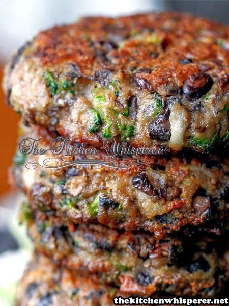 Healthy Cooking,: Chunky Portabella Veggie Burgers, Remove the fact that this Healthy recipe is cooked in a heavy amount of oil and it'll be awesome :)