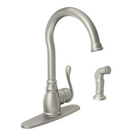 Moen Anabelle Spot Resist Stainless 1 Handle High Arc Kitchen Faucet With Side Spray 87650srs