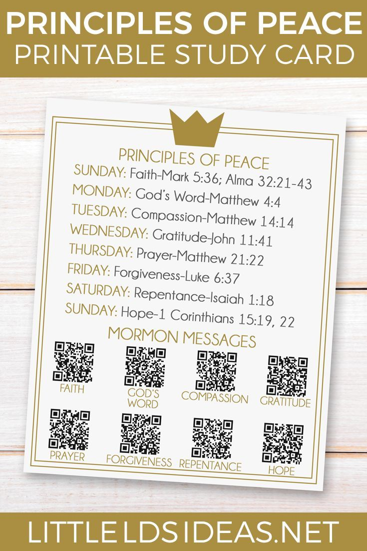 Principles of Peace Prince of Peace Study Card from Little LDS Ideas Use this Prince of Peace study card to help you study the principles of peace.  via @https://www.pinterest.com/littleldsideas/