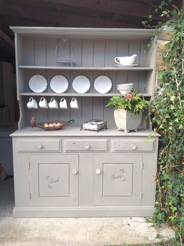 A Lovely Kitchen Hutch Finished In French Linen Chalk Paint® Decorative  Paint By Annie Sloan