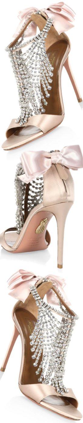 Aquazzura Fifth Avenue Crystal & Satin Sandals