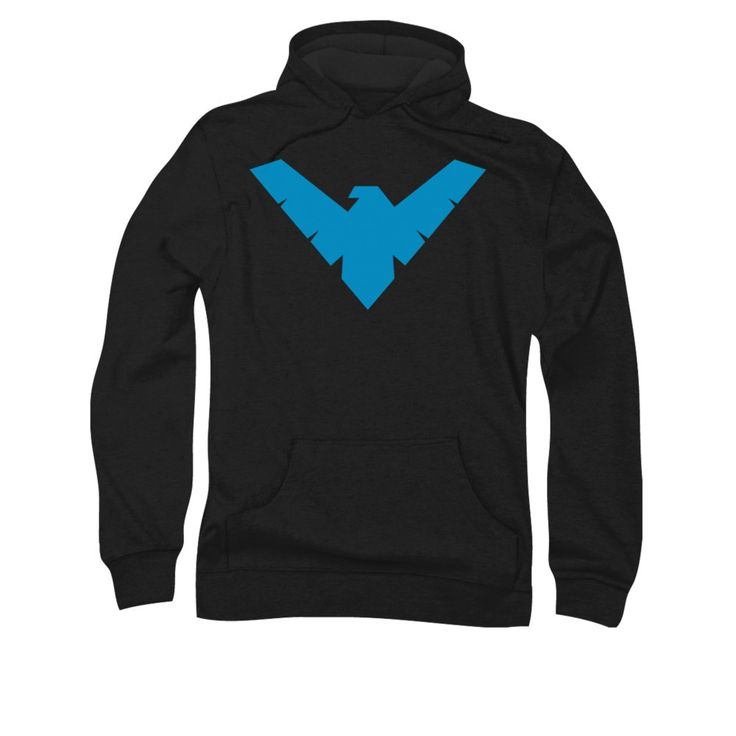 Get this Nightwing Logo design, one of our most popular, on a mens pullover hoodie. Available only in Mens sizes Small to 3XL. - Ships only within the United States - Please allow 4-5 business days to