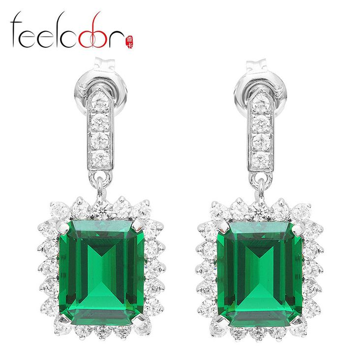 Fashion Party Set Luxury Jewelry Big 9.5ct Genuine Emerald Earring