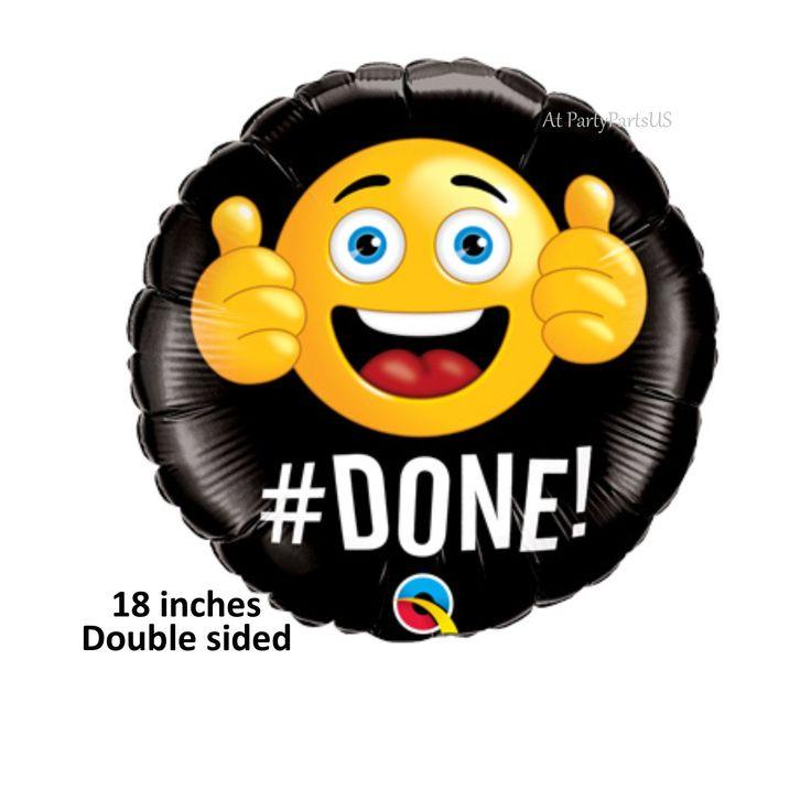 Emoji Graduation Balloon, Hashtag Done, Thumbs Up, Class