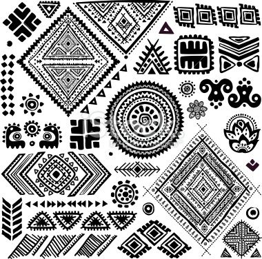 Tribal vintage ethnic pattern set Royalty Free Stock Vector Art Illustration