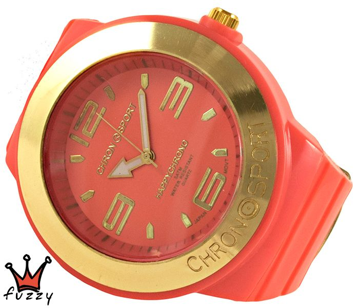 Γυναικείο νεανικό σπορ ρολόι, με κάσα σε πορτοκαλί  και χρυσό χρώμα και μεγάλα νούμερα στο εσωτερικό του.  Πλαστικό λουράκι σε πορτοκαλί χρώμα. Διάμετρος καντράν 52 mm