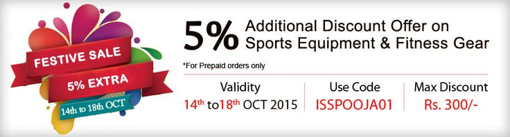 Isupersport.com is offering an additional 5% discount on all Sports and Fitness equipment available in its sports online Store.  The discount is valid till 18thOctober, 2015 and get Maximum discount is Rs 300. Applicable on prepaid orders only. Use Coupon Code: ISSPOOJA01 Buy Online From - http://isupersport.com/
