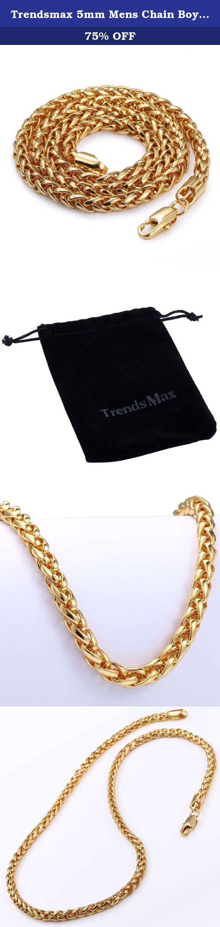 Trendsmax 5mm Mens Chain Boys Wheat Link Yellow Gold Plated Necklace,18-36inch. Fashion Design Trendsmax Jewelry 5mm Mens Chain Boys Wheat Link Yellow Gold Plated Necklace. Available in 18-36 inch. Daily wear, It¡¯s perfect gift for Birthday, Anniversary, Christmas.