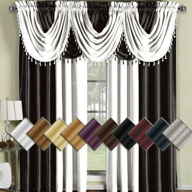 Soho Faux Silk Curtain Panels Or Waterfall Valance Single In