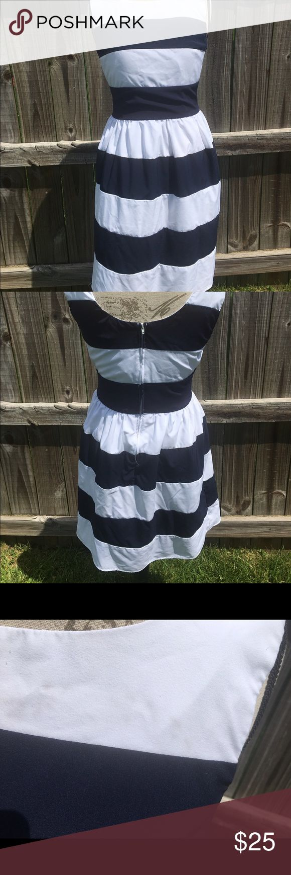 Sleeveless striped dress Lined sleeveless blue and white striped dress. Some discoloration at collar but not noticeable. Zip backed. 96% polyester and 4% spandex. Lining 100% polyester b. smart Dresses Midi