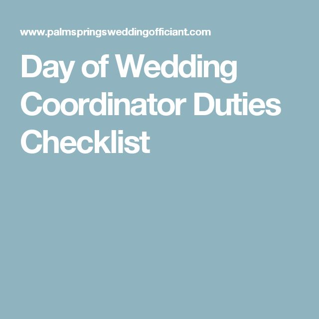 Day of Wedding Coordinator Duties Checklist
