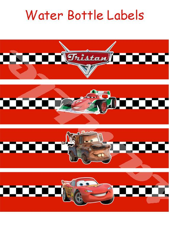 Digital Disney Cars, Cars2 Printable Birthday party water bottle label on Etsy, $3.00