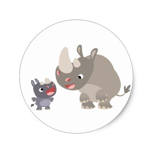 Cute Cartoon Rhino Baby and Big Rhino Sticker! Make your own sticker more personal to celebrate the arrival of a new baby. Just add your photos and words to this great design.