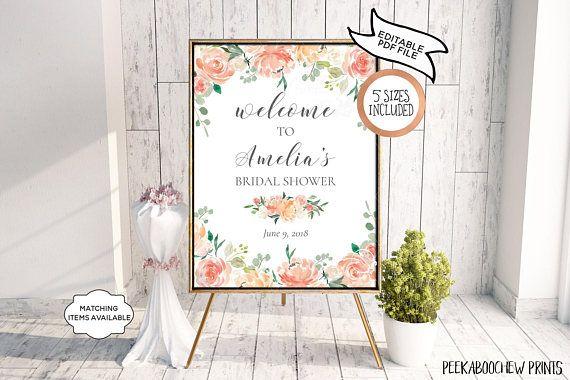 Bridal Shower Welcome Sign EDITABLE PRINTABLE Wedding