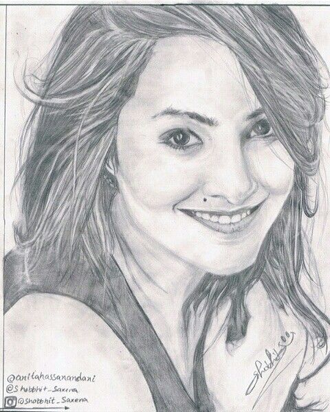 Sketch of Anita hassanandani sketched by shobhit saxena follow me on instagram @shobbhot_daxena