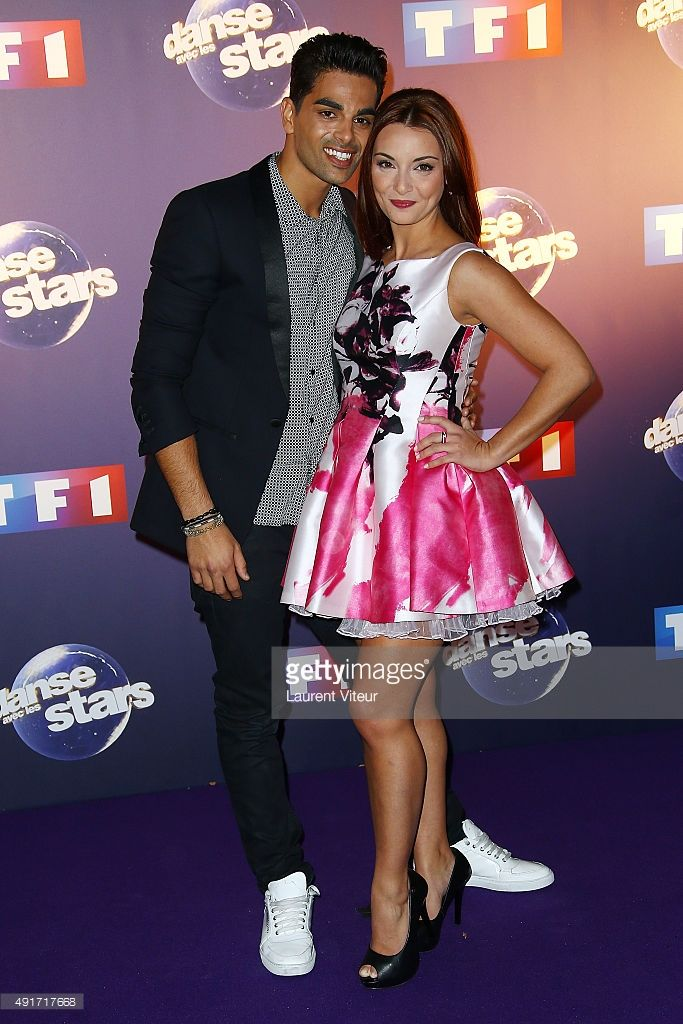 Singer Priscilla Betti and Dancer Christophe Licata attend the 'Danse Avec Les Stars 2015' Photocall At TF1 on October 7, 2015 in Paris, France.