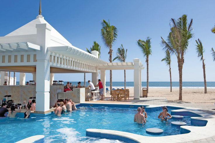 Riu Emerald Bay, located in Mazatlan, Mexico has a swim-up bar right on the beach