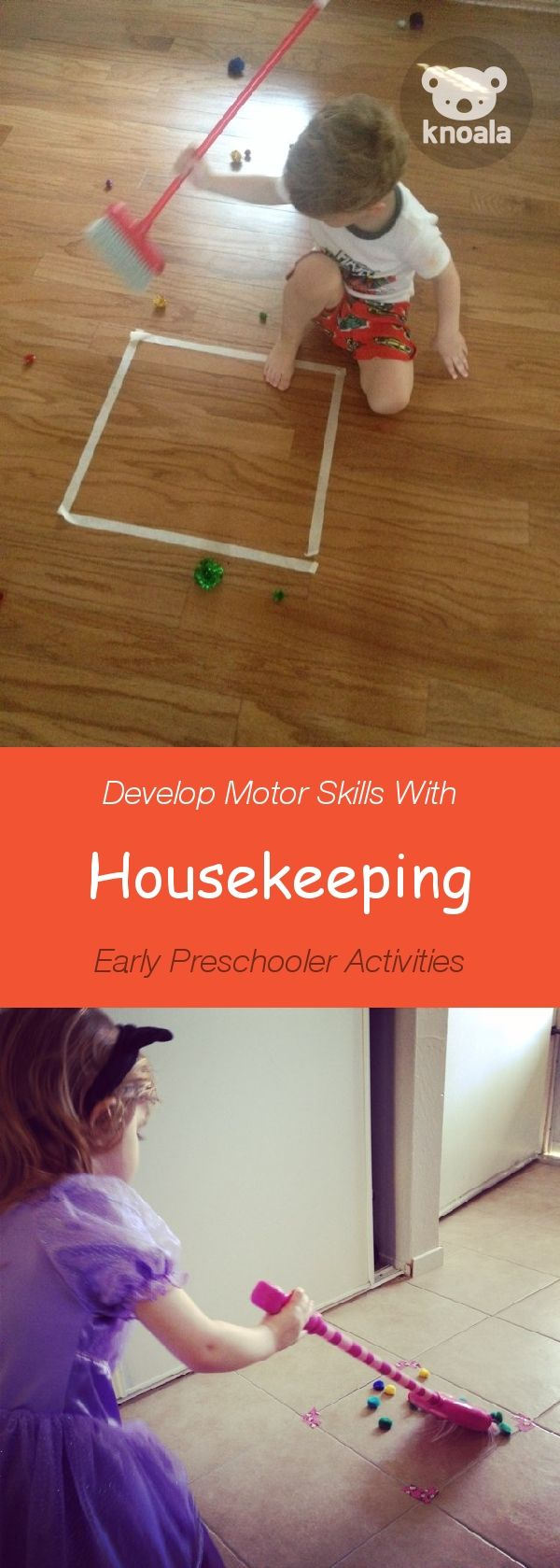 #Knoala Early Preschooler activity 'Housekeeping' helps little ones develop Motor and Cognitive skills. Click for simple instructions & 1000s more fun, easy, no-prep activities for kids ages 0-5! #activities #DIY