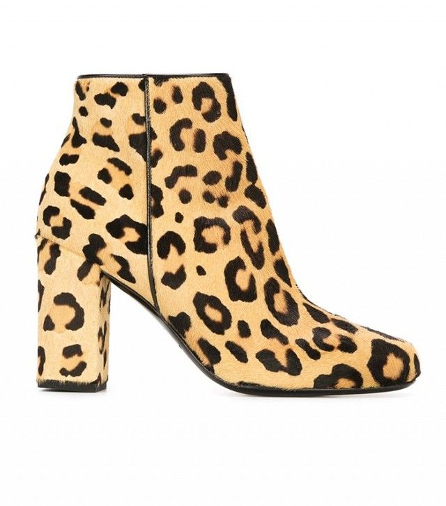 Saint Laurent leopard print ankle boots.