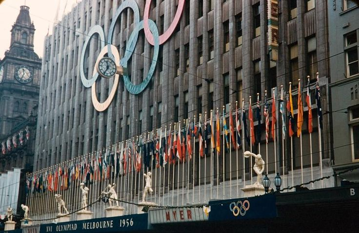 Myers Store Decorated for Melbourne Olympic Games, Bourke Street, Melbourne, 1956
