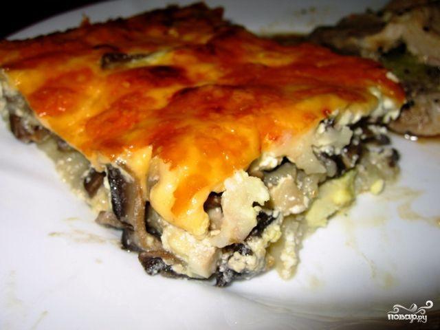 запеканка из картофельного пюре и грибов