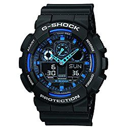 Casio G-Shock GA100-1A2 Ana-Digi Speed Indicator Black Dial Men's Watch
