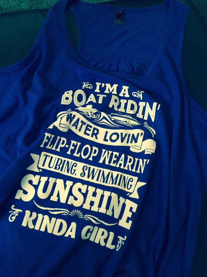 "Hi sweeties! Just got my Sunshine Girl tank in the mail! I wanted to show you the blue! AND you can't see how cute the words are unless it is in person. See the little stars in the ""Flip-Flop Wearin""? We try super hard to make fun stuff for you! Here's where you can get yours: http://teespring.com/waterlover"