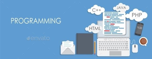 Programming Coding Flat Concept