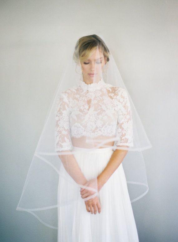 1/2 Inch Horsehair Veil Ribbon Edge Wedding Veil by VeiledBeauty