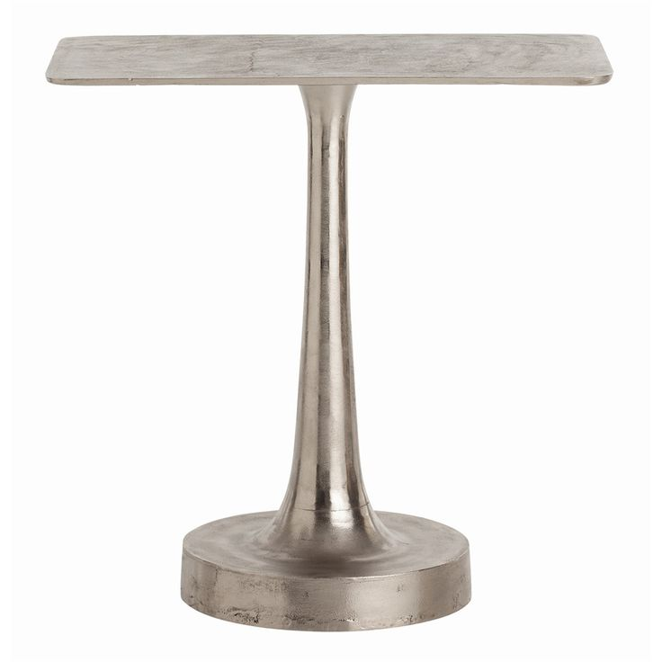 Bellamy Polished Aluminum Side Table With Distressed Aluminum Top