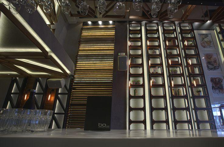 Bo Cafe Florina #interior #design #EpilisisStudio #cafe #bar #industrial #bookcase #walllight