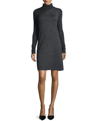 Tajello Patterned Knit Long-Sleeve Turtleneck Dress