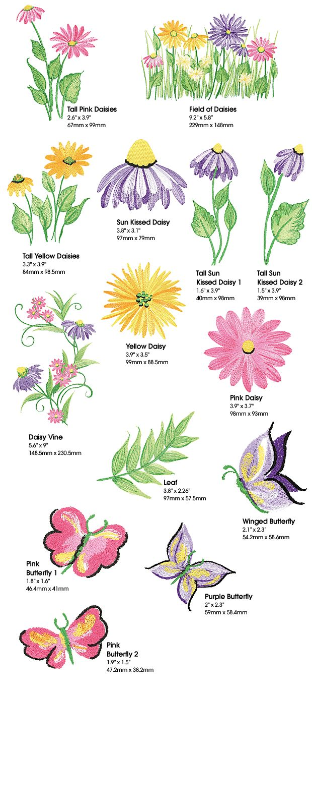 Donna Dewberry Free Patterns | Donna Dewberry Daisies | 14 Multi-Format Embroidery Designs ...