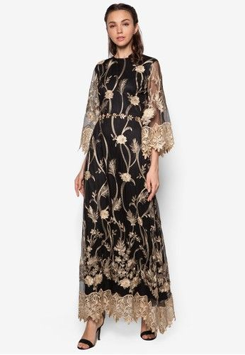 Embroidered Flare Sleeve Dress from Zalia in black and gold_1