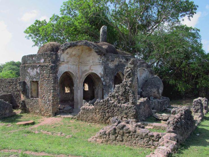 The 15th century Small Domed Mosque on Kilwa Kisiwani Island, Tanzania, originally had three bays but the eastern aisle has collapsed.