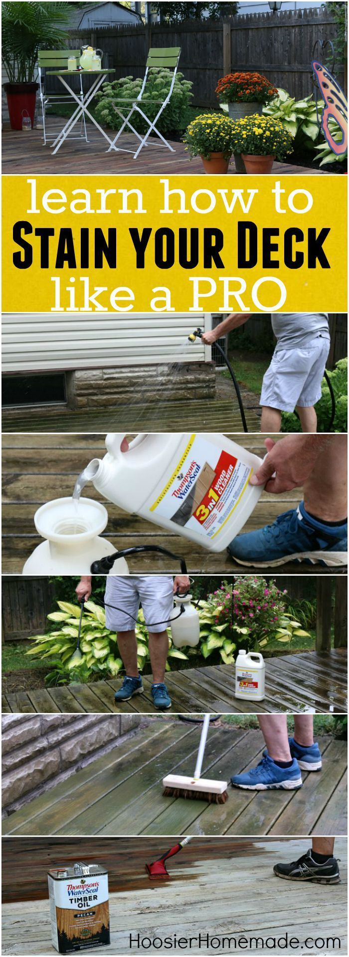 No need to be afraid to stain your deck! These tips, easy to follow directions and list of tools you will need will help! Learn how to clean, prepare and stain your deck...like a PRO! Click on the Photo for Directions on How to Stain a Deck for Homeowners!